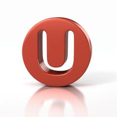 letter U inside red circle