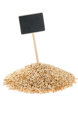 Heap of barley  with a pointer for your text