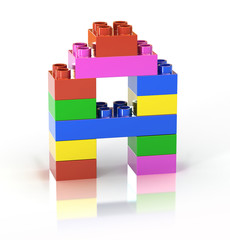 children`s brick toy font letter A