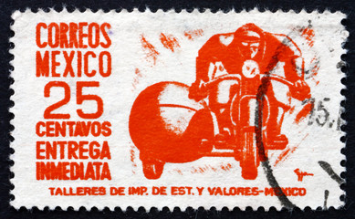 Postage stamp Mexico 1950 Motorcycle, Special Delivery Messenger