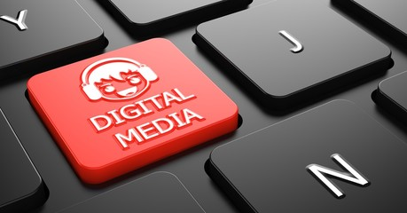 Digital Media concept on Red Keyboard Button.