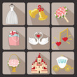 Design wedding  icons for Web and Mobile.Retro Vector