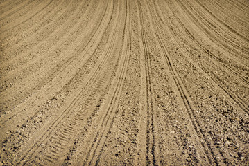 Plowed land on the field during agricultural work