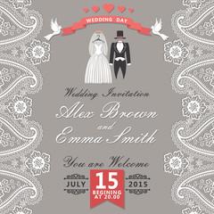 Vintage wedding invitation with Paisley border,cartoon wedding c