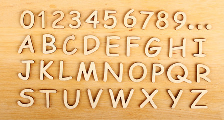 Wooden alphabet. Include numerals!