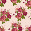 Vintage Seamless Roses Background with Butterflies