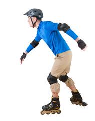 man roller skating