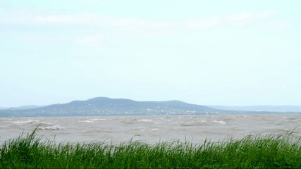 Lake Balaton in stormy wind, Hungary