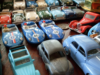 Assorted toy cars at a store