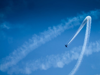 Low angle view of an airplane performing airshow