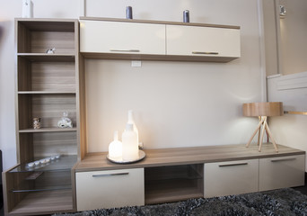 TV shelf unit on wall in show room