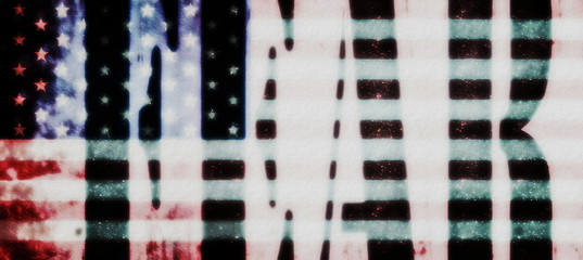 concepts fear and old grunge USA flag background