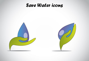 hand holding big drop of water conserve or save water concept.