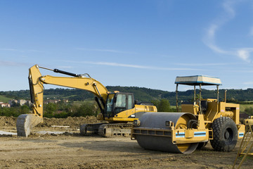 bulldozer in building site