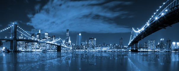 Manhattan and Brooklyn bridge night view