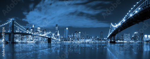 Manhattan and Brooklyn bridge night view - 64771506