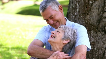 Senior couple relaxing in the park together