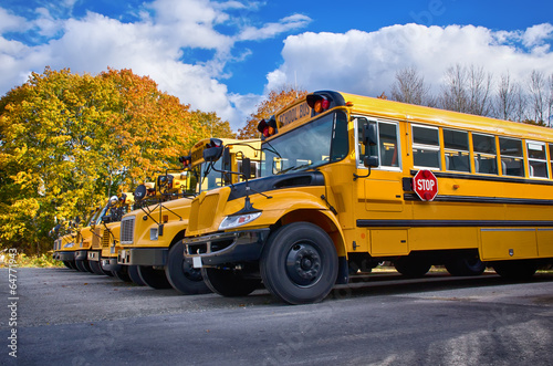 Row of yellow school buses on a sunny autumn day - 64771943