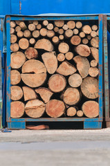Holz in blauem Container, Holztransport, Festmeter
