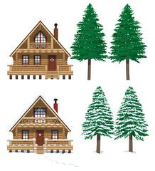 冬と夏のログハウス
