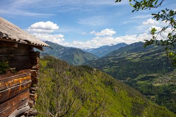 Mountain landscape in Georgia Kaukaz with beautiful sky and tree
