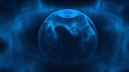 Frozen planet, blue star on black, animation loop