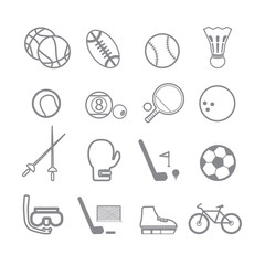 Sports icons line