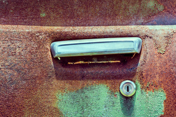 Door handle of old car
