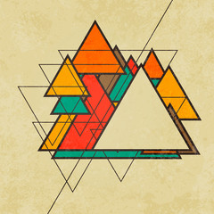 Triangular retro abstract background vector