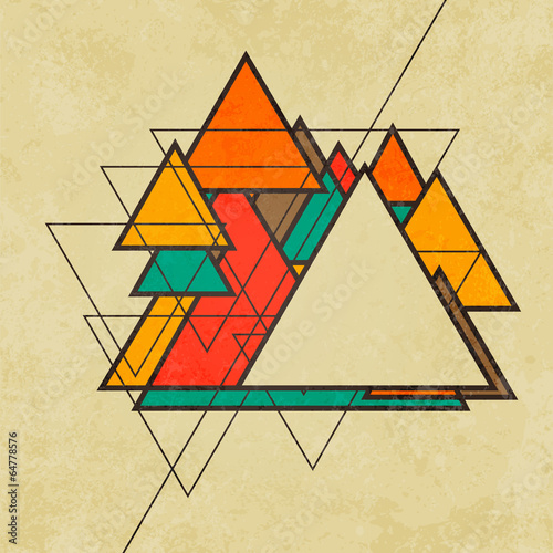 Triangular retro abstract background vector © JMC