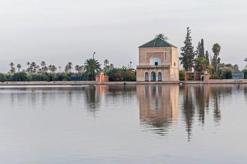Pavillion on Menara Gardens at Marrakech, Morocco