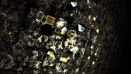 Explosion of cubic particles, wall of cubes exploding, loopable