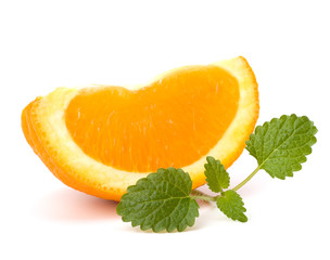 Orange fruit segment and citron mint leaf