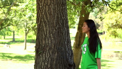 Happy environmental activist enjoying nature