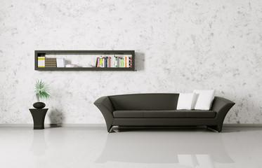 Interior with sofa and bookshelf
