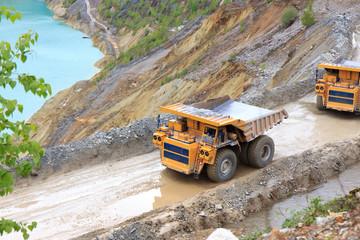 Trucks in open pit