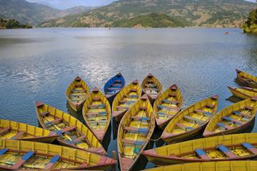 Boats parked on Fewa Lake