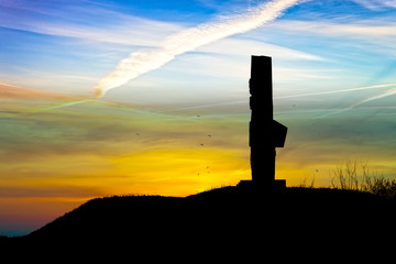 Westerplatte monument silhouetted against the sunset in Gdansk