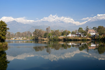 Reflection of mountain in Fewa Lake
