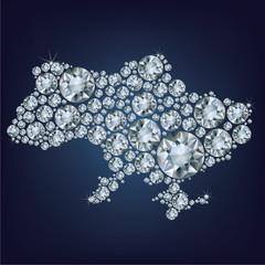 Map of Ukraine made from diamonds