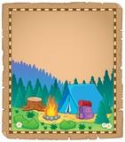 Parchment with campsite theme 1