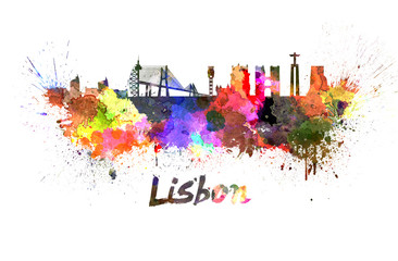 Lisbon skyline in watercolor