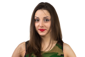 Girl in camouflage T-shirt