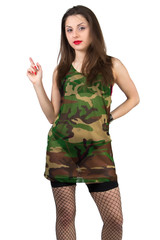 Girl in camouflage shirt with stocking