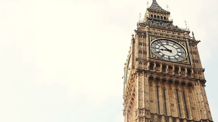 Close up of Big Ben clock. Time-lapse.