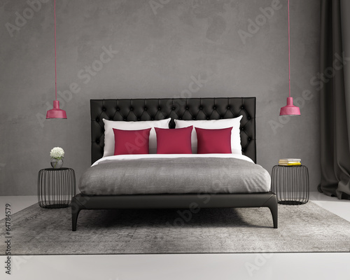 Contemporary elegant luxury red and grey bedroom