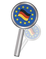 Lupe EU-Logo mit Deutscher Flagge