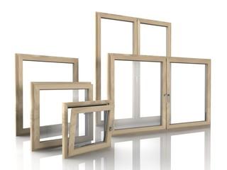 Verschiedene Holzfenster