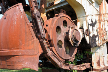 Detail an einem Braunkohle-Bagger