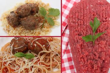 Boulettes de viande bovine : Riz ou Spaghetti